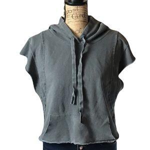 Stateside gray short sleeved hooded sweatshirt